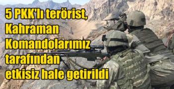 5 PKK'lı terörist, Kahraman Komandolarımız tarafından etkisiz hale getirildi