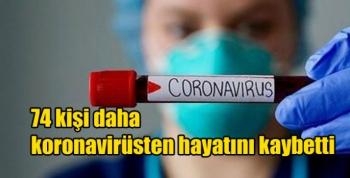 74 kişi daha koronavirüsten hayatını kaybetti