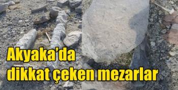 Akyaka'da dikkat çeken mezarlar