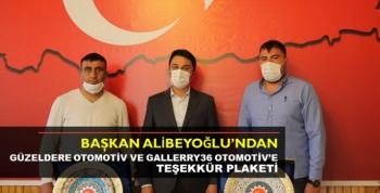 Başkan Alibeyoğlu'ndan Güzeldere Otomotiv Ve Gallerry36 Otomotiv'e Teşekkür Plaketi