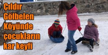 Çıldır Gölbelen Köyünde çocukların kar keyfi