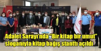 """Kars Adalet Sarayı'nda """"Bir kitap bir umut"""" sloganıyla kitap bağış stanttı açıldı"""