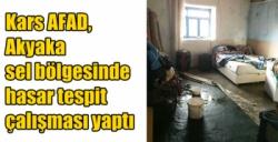 Kars AFAD, Akyaka sel bölgesinde hasar tespit çalışması yaptı