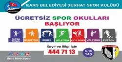 Kars Belediyesi Ücretsiz Spor Okulu Kayıtları Başladı
