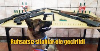 Kars Jandarması ruhsatsız silahlar ele geçirdi