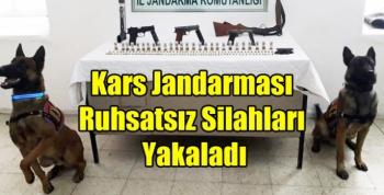Kars Jandarması Ruhsatsız Silahları Yakaladı