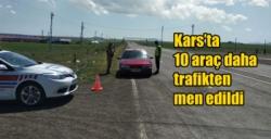 Kars'ta 10 araç daha trafikten men edildi