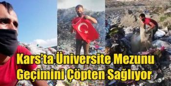 Kars'ta Üniversite Mezunu Geçimini Çöpten Sağlıyor