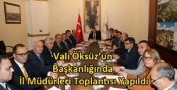 Kars Valisi Türker Öksüz'ün Başkanlığında İl Müdürleri Toplantısı Yapıldı