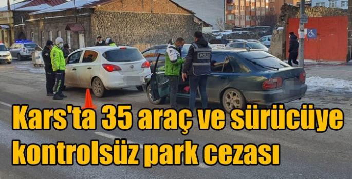 Kars'ta 35 araç ve sürücüye kontrolsüz park cezası
