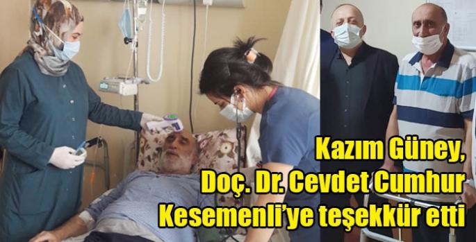 Kazım Güney, Doç. Dr. Cevdet Cumhur Kesemenli'ye teşekkür etti