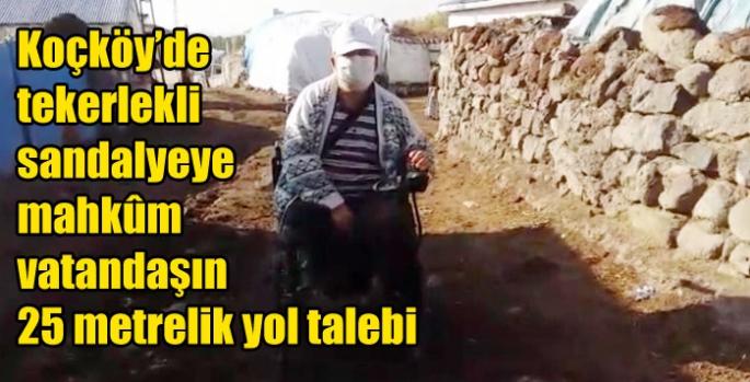Koçköy'de tekerlekli sandalyeye mahkûm vatandaşın 25 metrelik yol talebi