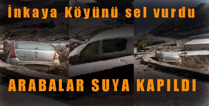Sarıkamış İnkaya Köyünü sel vurdu Araçlar sele kapıldı