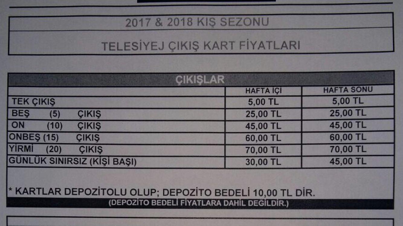 Sarıkamış Telesiyej Fiyatları