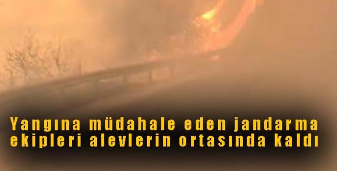 Yangına müdahale eden jandarma ekipleri alevlerin ortasında kaldı